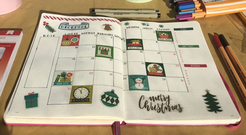 visione mensile bullet journal dicembre