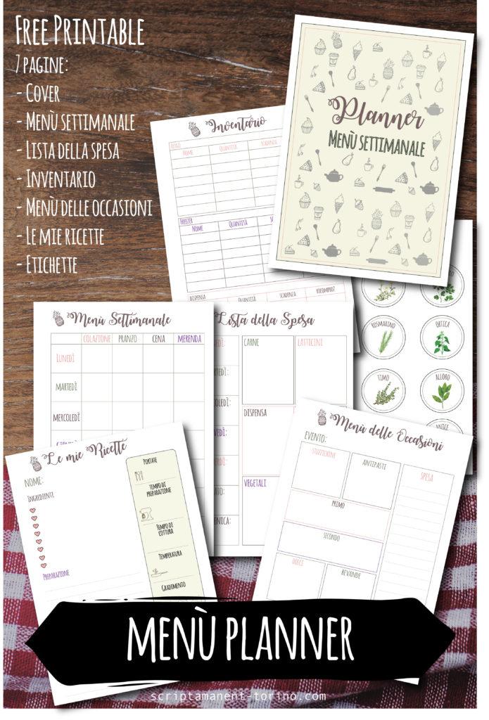 free printable menu settimanale