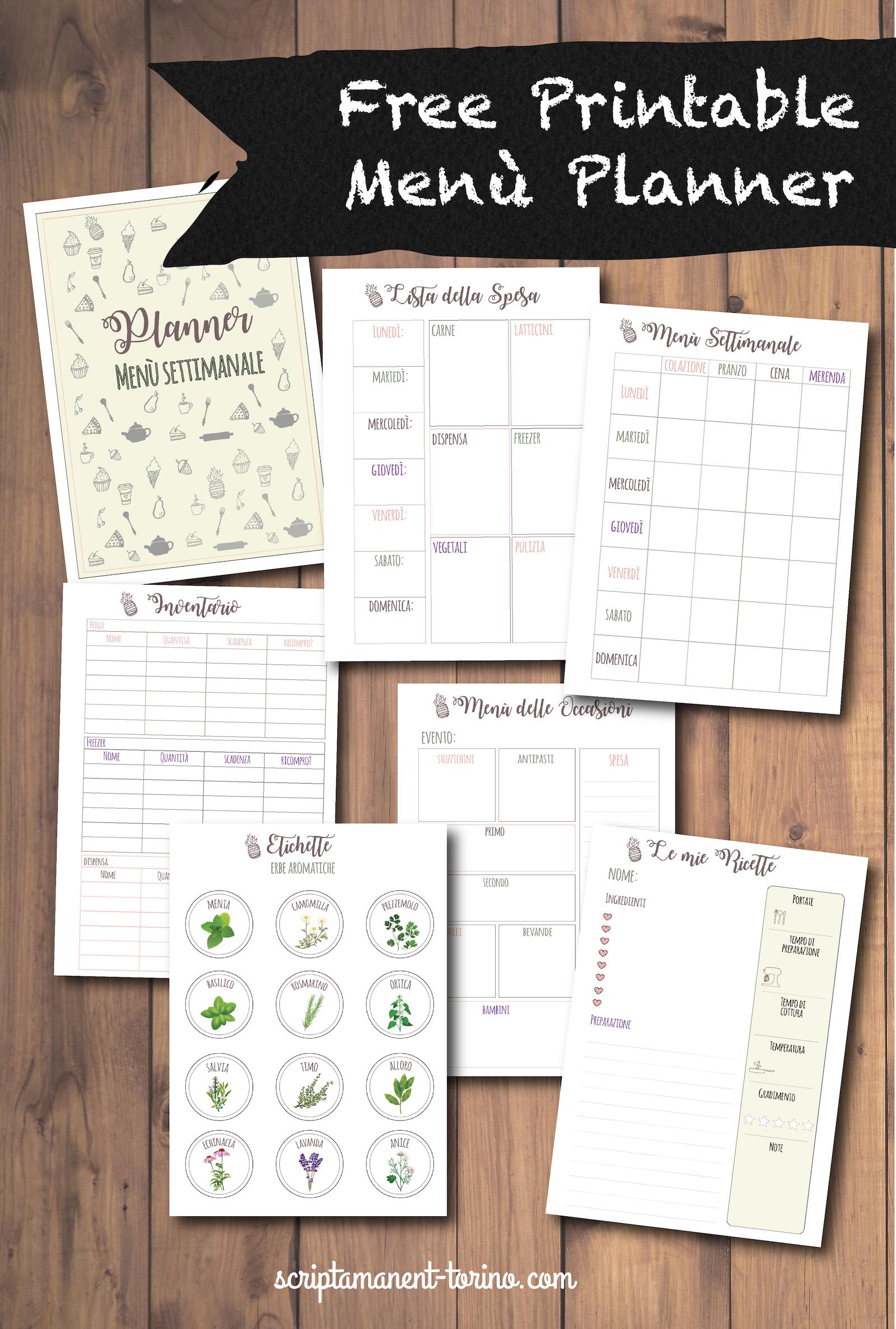 Organizzare Il Menu Della Settimana free printable: organizza il menù settimanale - scripta
